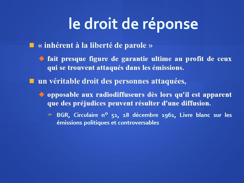 le droit de réponse « inhérent à la liberté de parole »