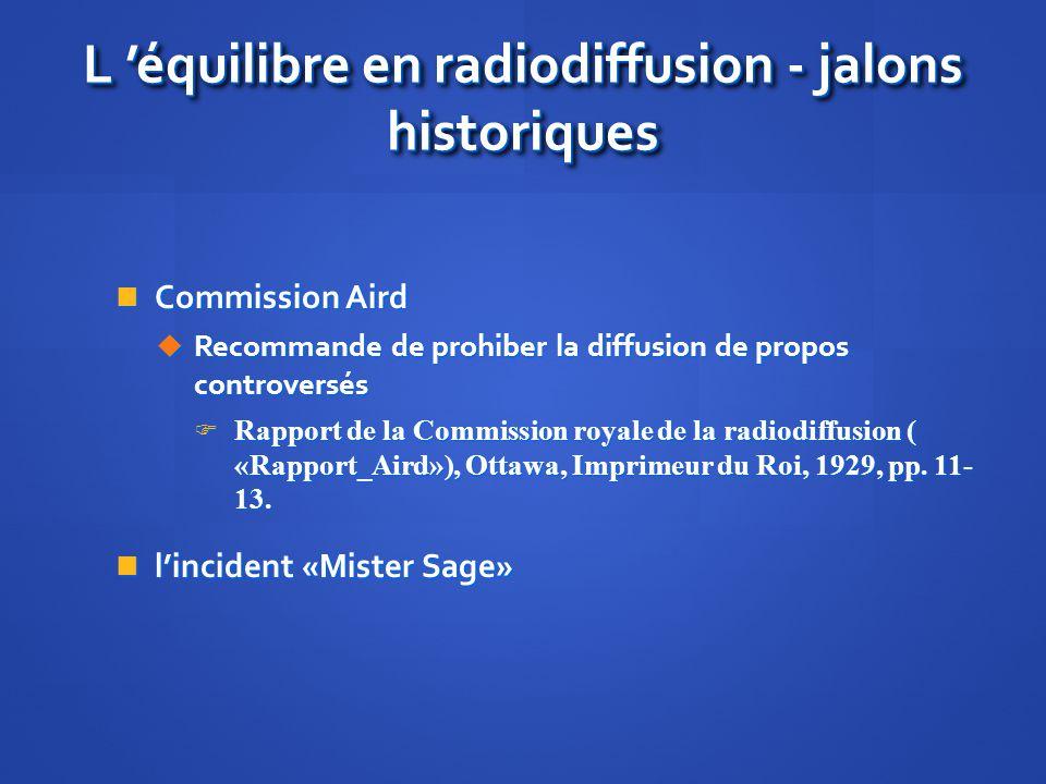 L 'équilibre en radiodiffusion - jalons historiques