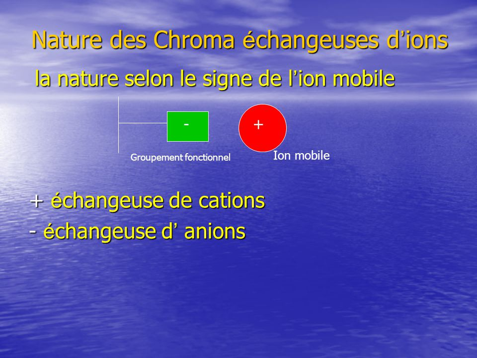 Nature des Chroma échangeuses d'ions
