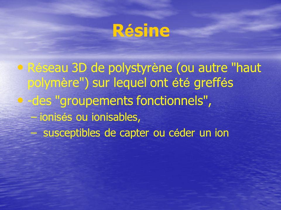 Résine Réseau 3D de polystyrène (ou autre haut polymère ) sur lequel ont été greffés. -des groupements fonctionnels ,