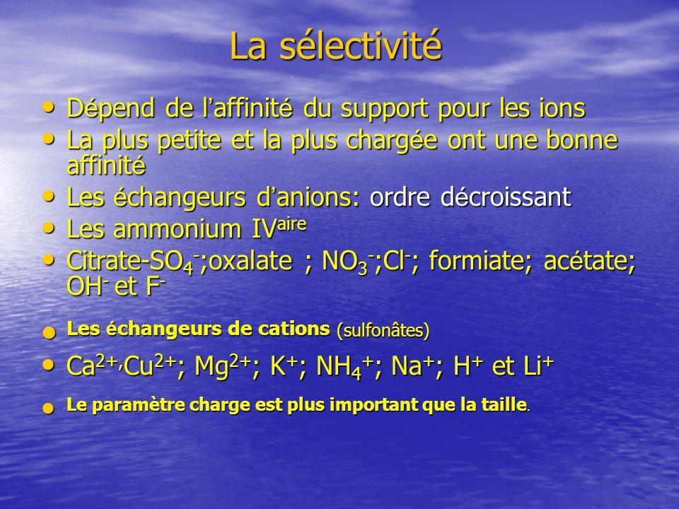 La sélectivité Les échangeurs de cations (sulfonâtes)