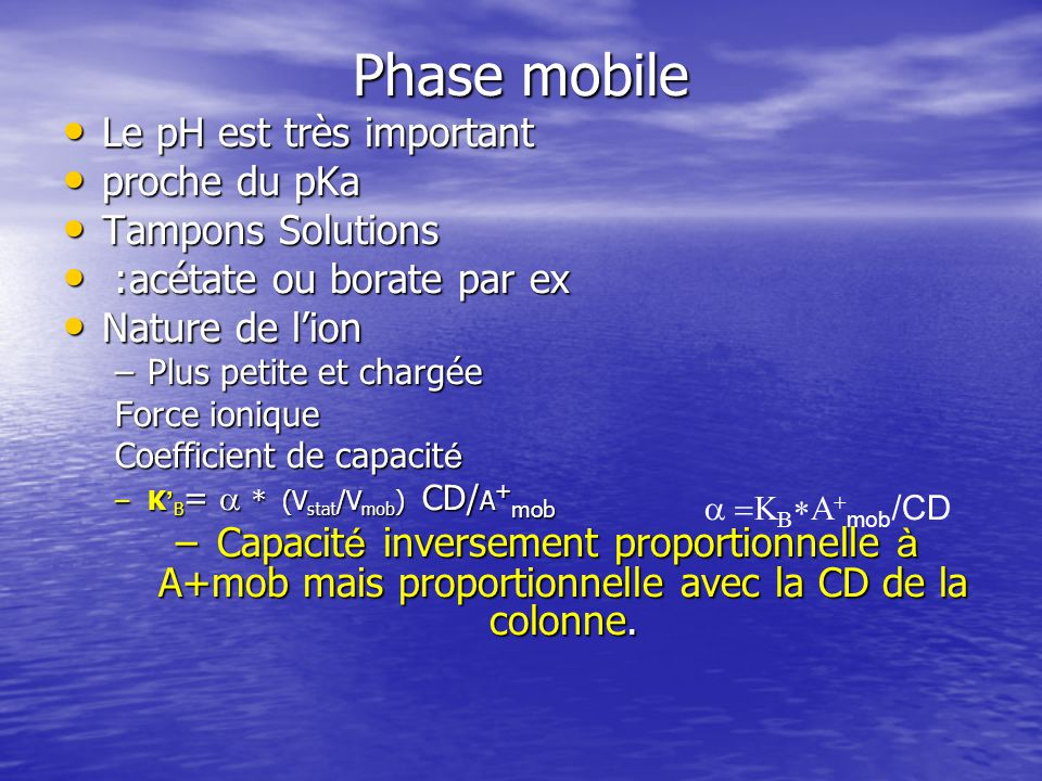 Phase mobile Le pH est très important proche du pKa Tampons Solutions