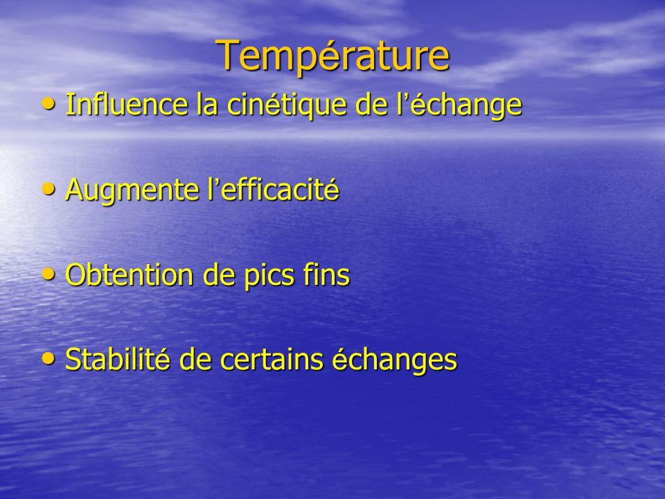 Température Influence la cinétique de l'échange Augmente l'efficacité
