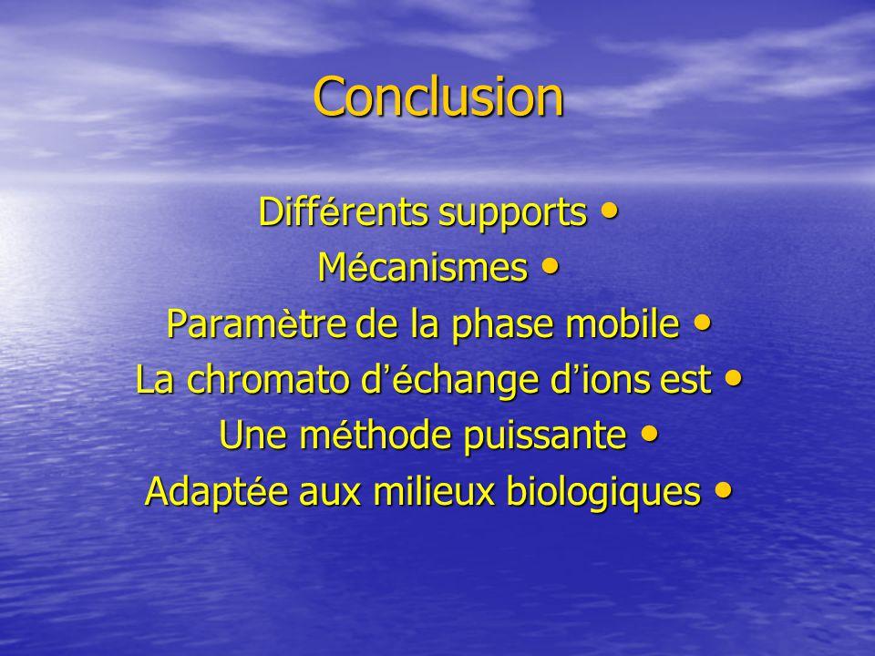 Conclusion Différents supports Mécanismes Paramètre de la phase mobile