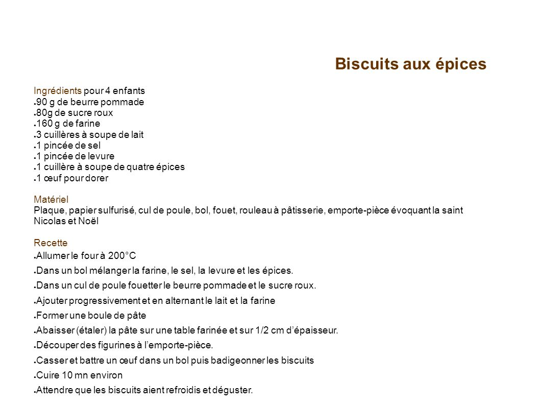Biscuits aux épices Ingrédients pour 4 enfants 90 g de beurre pommade