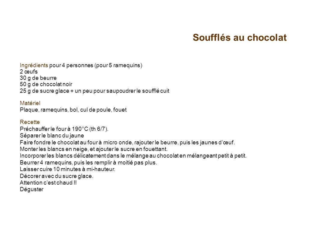 Soufflés au chocolat Ingrédients pour 4 personnes (pour 5 ramequins) 2 œufs. 30 g de beurre 50 g de chocolat noir.