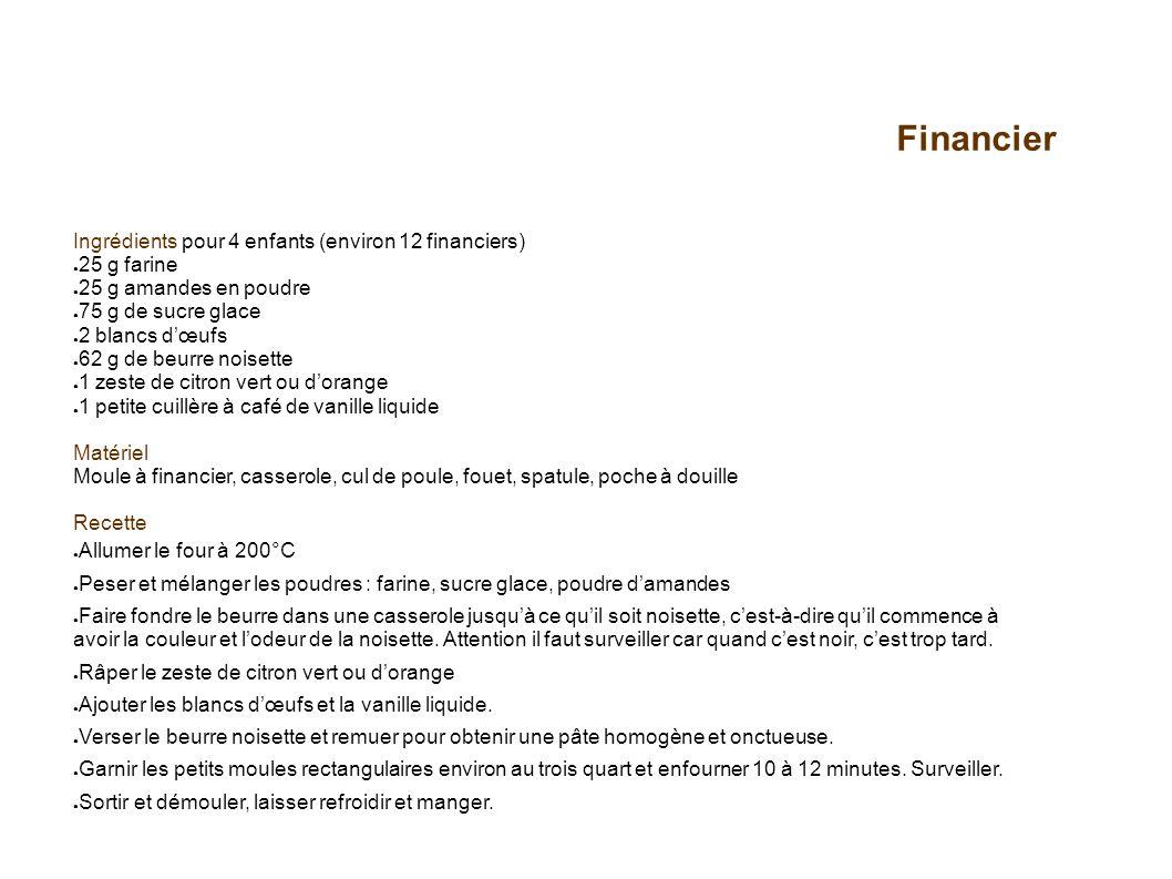 Financier Ingrédients pour 4 enfants (environ 12 financiers)