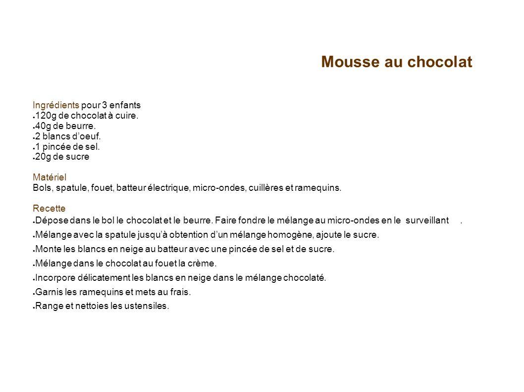 Mousse au chocolat Ingrédients pour 3 enfants