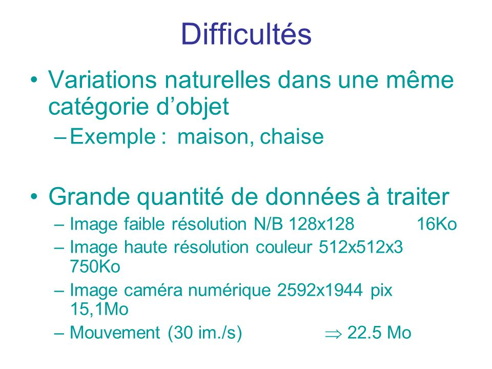 Difficultés Variations naturelles dans une même catégorie d'objet