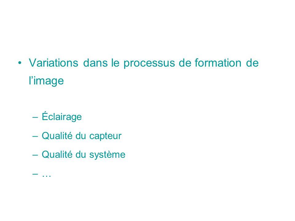 Variations dans le processus de formation de l'image