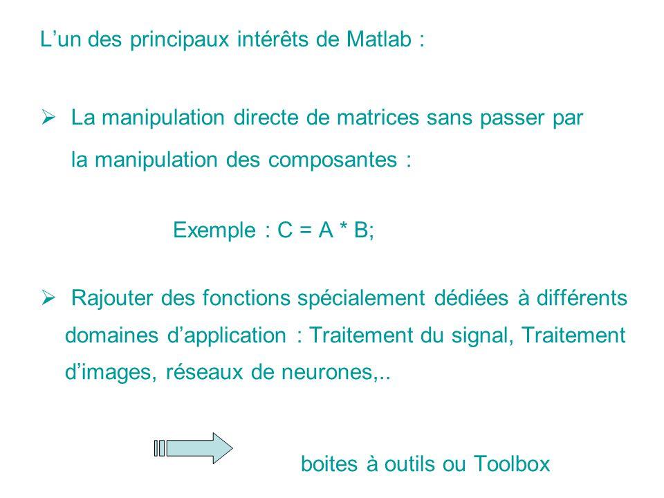 L'un des principaux intérêts de Matlab :
