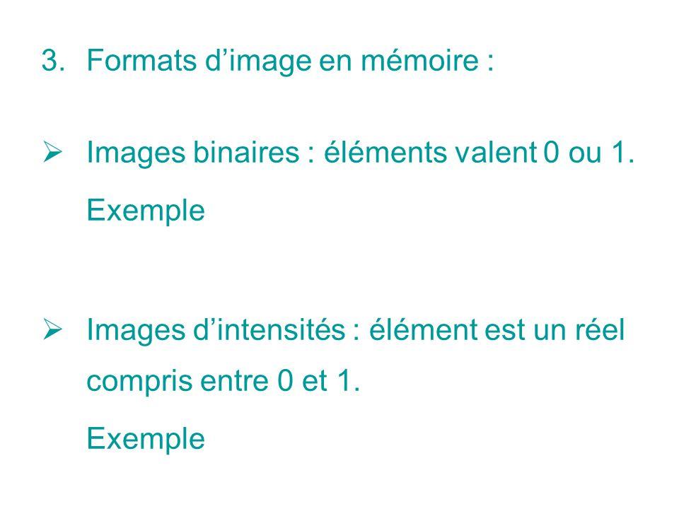 Formats d'image en mémoire :