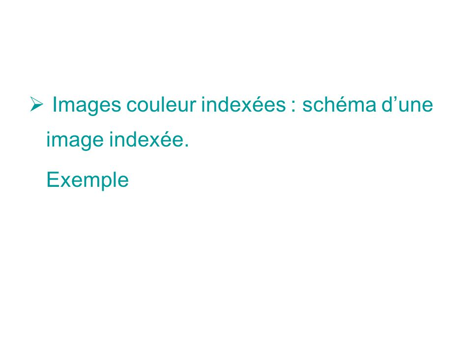 Images couleur indexées : schéma d'une image indexée.