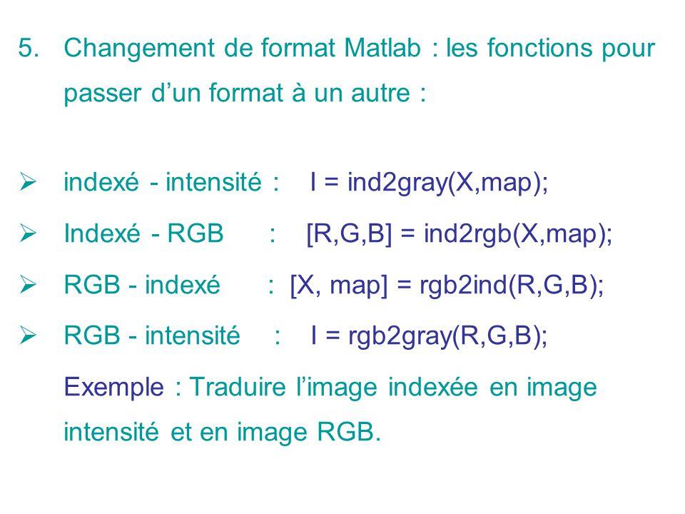 Changement de format Matlab : les fonctions pour passer d'un format à un autre :