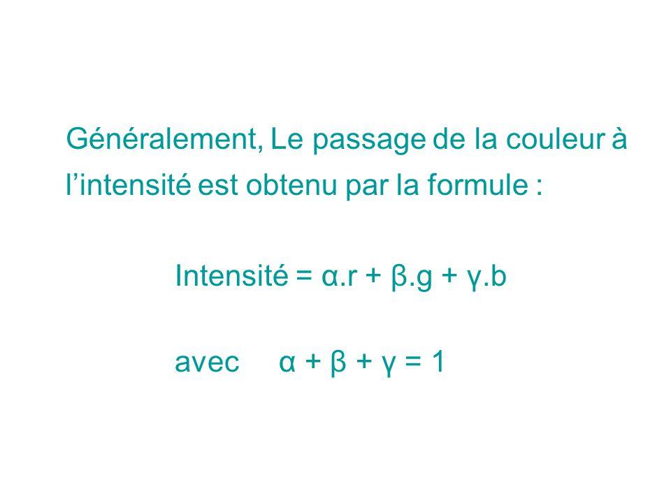 Généralement, Le passage de la couleur à l'intensité est obtenu par la formule :