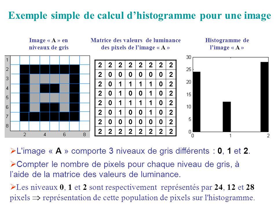 Exemple simple de calcul d'histogramme pour une image
