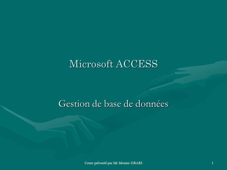 Microsoft Access Gestion de base de données
