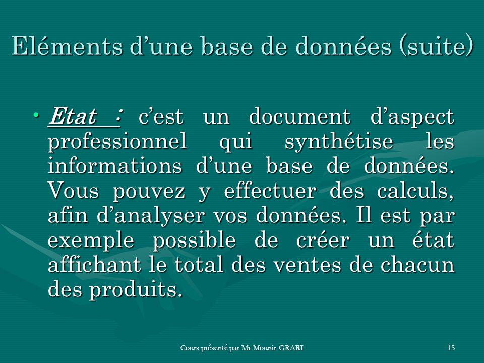 Eléments d'une base de données (suite)