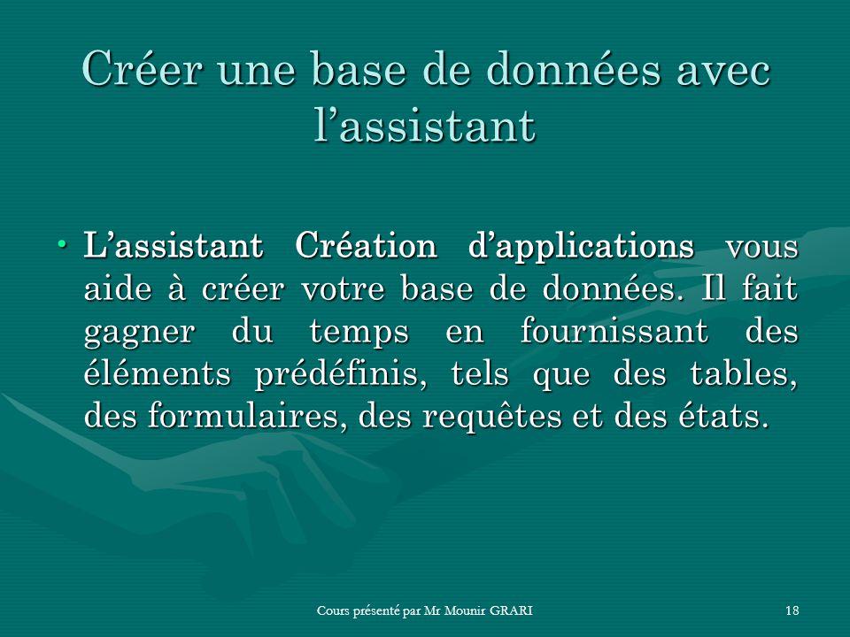 Créer une base de données avec l'assistant