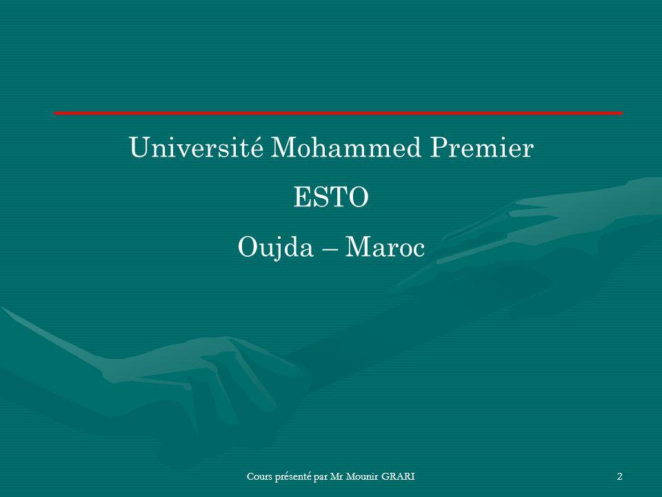 Université Mohammed Premier ESTO Oujda – Maroc