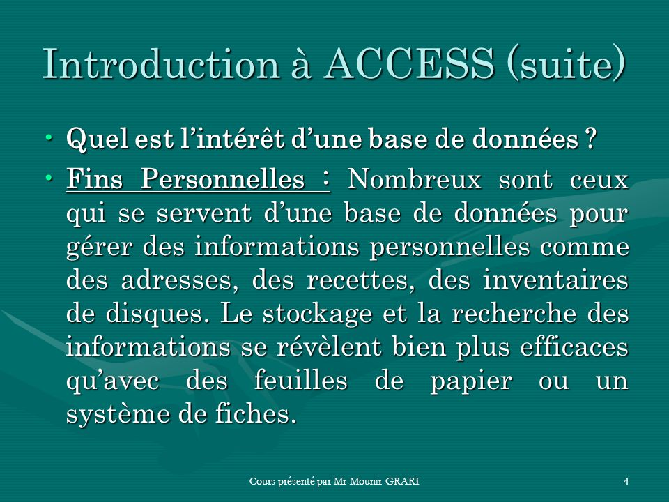 Introduction à ACCESS (suite)