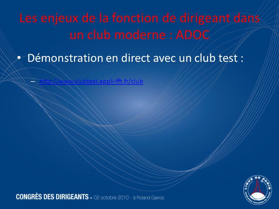 Les enjeux de la fonction de dirigeant dans un club moderne : ADOC