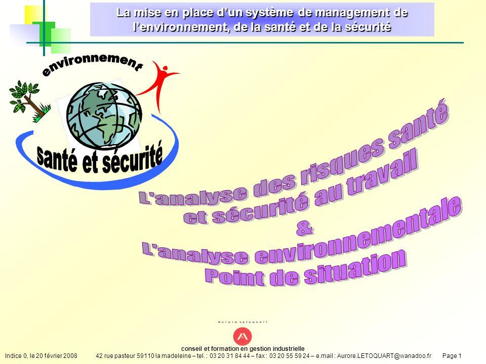 environnement santé et sécurité L analyse des risques santé