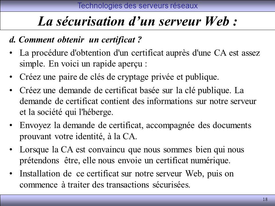 La sécurisation d'un serveur Web :