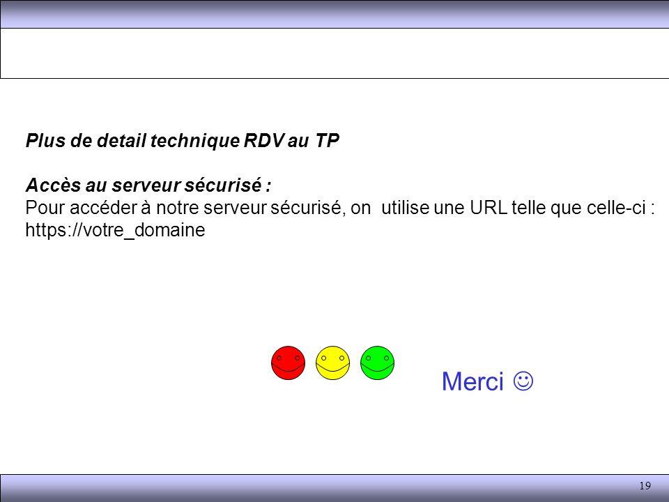 Merci  Plus de detail technique RDV au TP Accès au serveur sécurisé :
