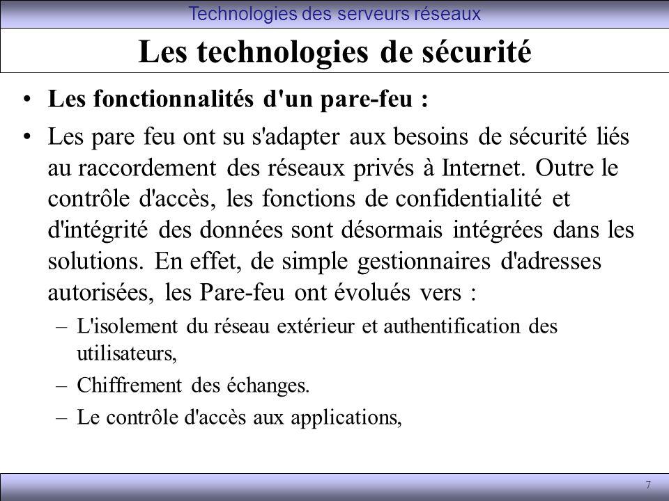 Les technologies de sécurité