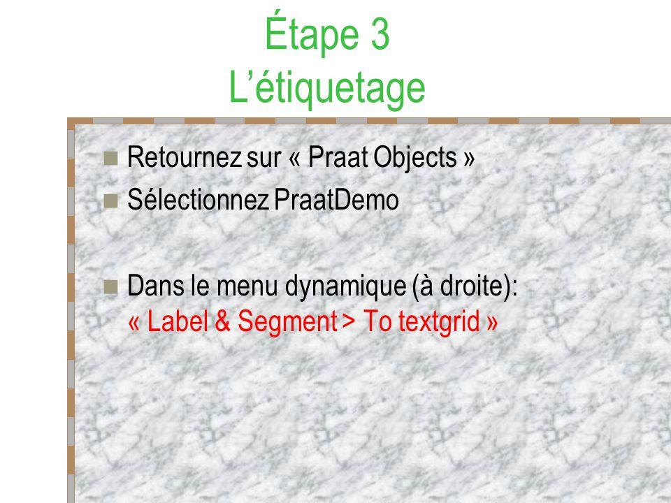 Étape 3 L'étiquetage Retournez sur « Praat Objects »