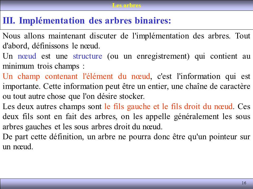 III. Implémentation des arbres binaires: