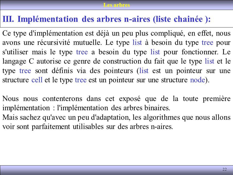 III. Implémentation des arbres n-aires (liste chainée ):