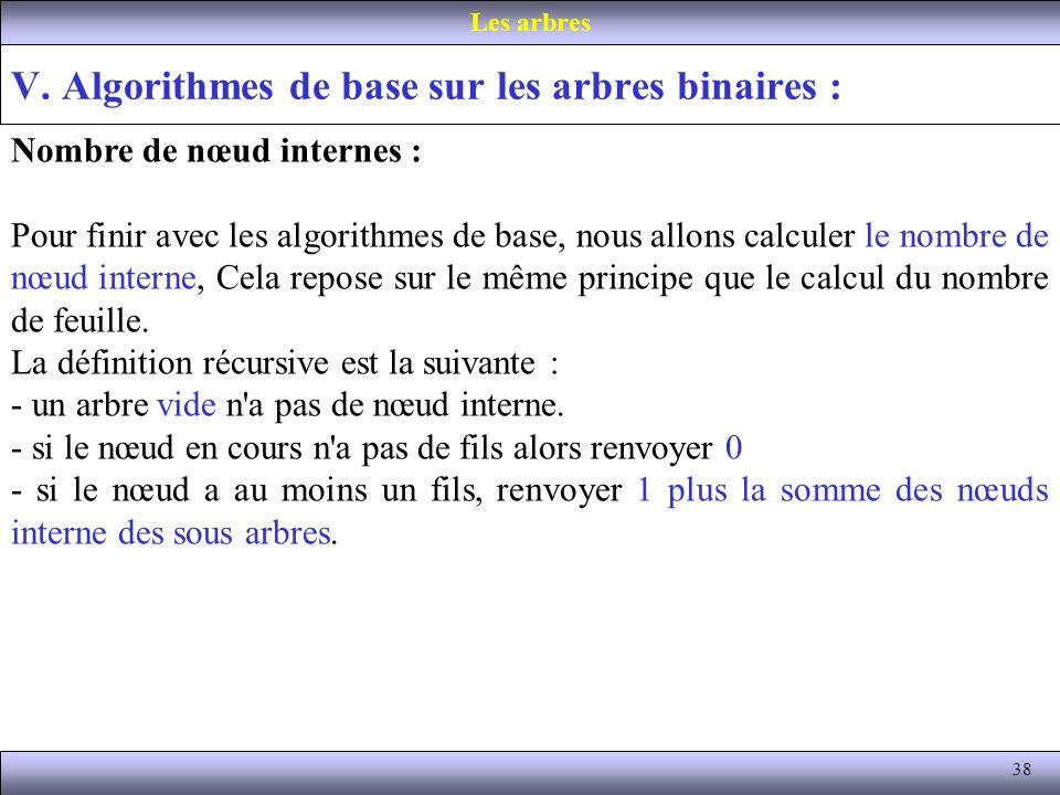 V. Algorithmes de base sur les arbres binaires :