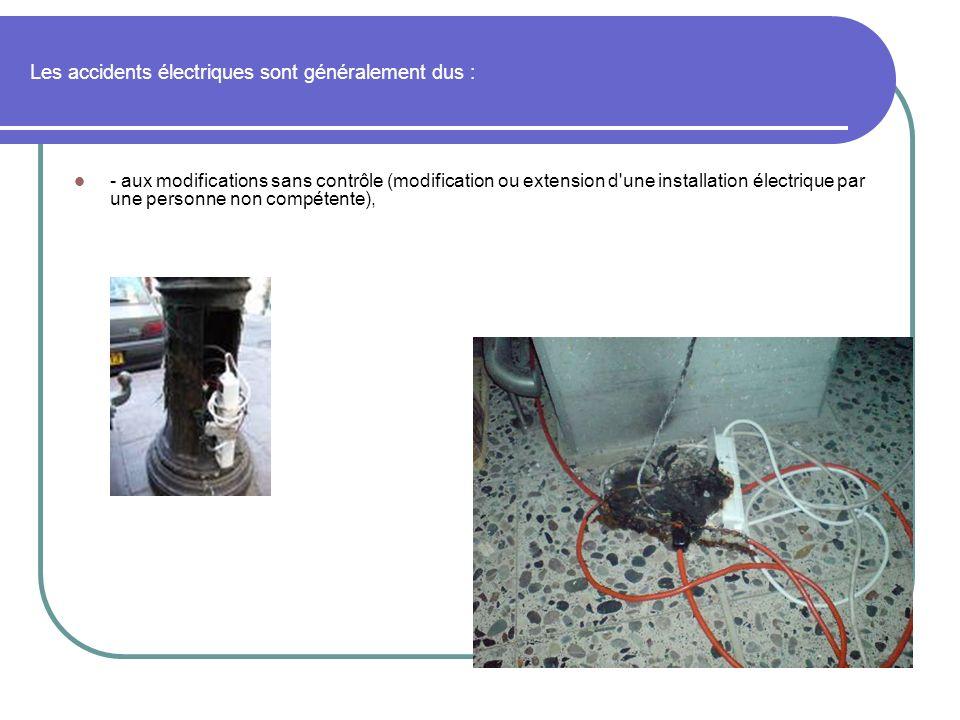 Les accidents électriques sont généralement dus :