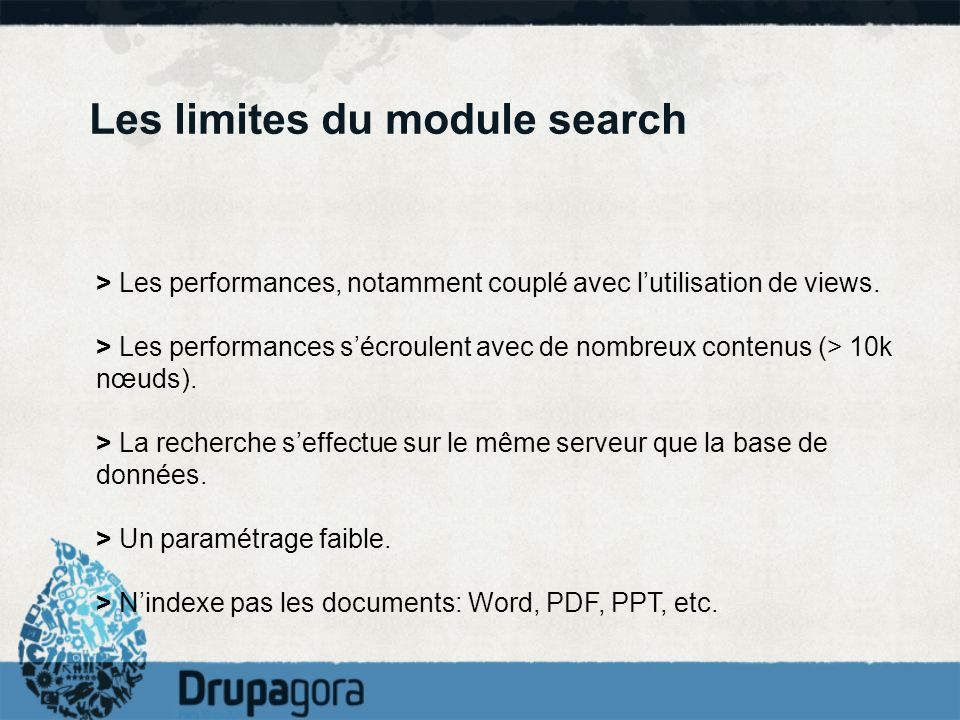 Les limites du module search