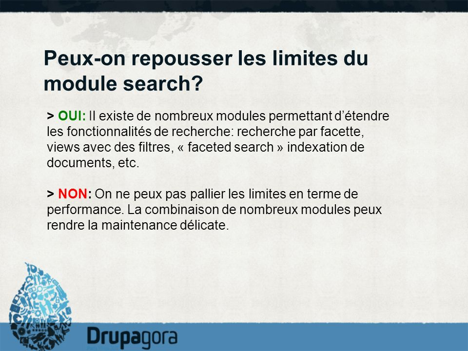 Peux-on repousser les limites du module search