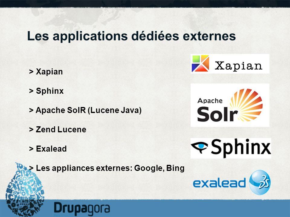 Les applications dédiées externes