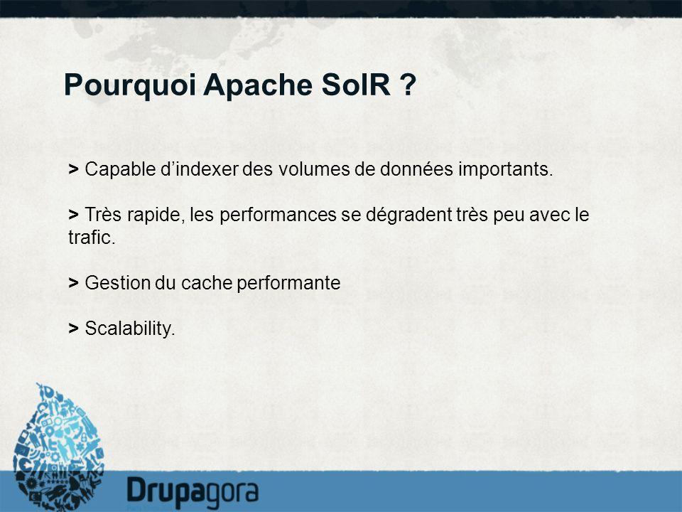 Pourquoi Apache SolR > Capable d'indexer des volumes de données importants. > Très rapide, les performances se dégradent très peu avec le trafic.