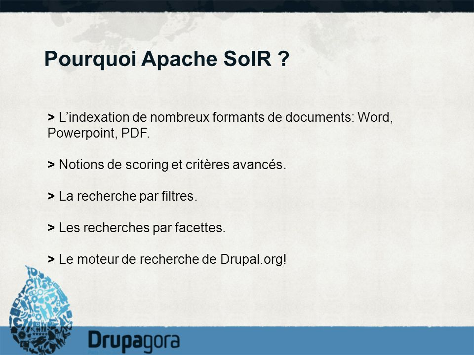 Pourquoi Apache SolR > L'indexation de nombreux formants de documents: Word, Powerpoint, PDF. > Notions de scoring et critères avancés.