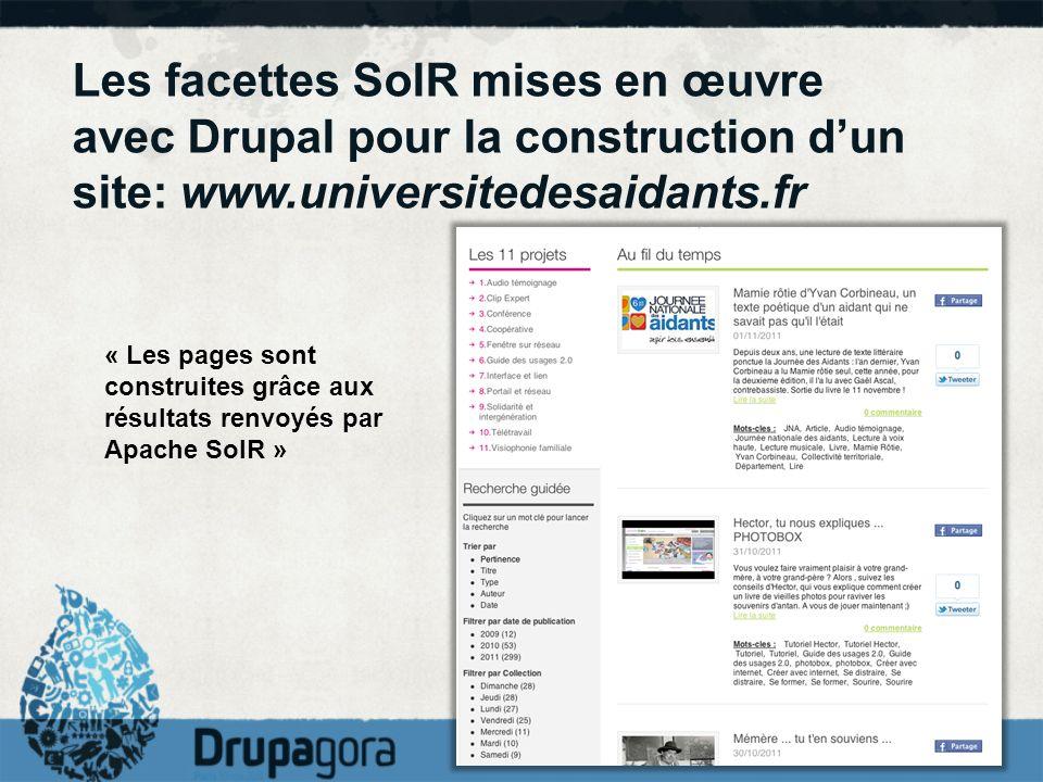 Les facettes SolR mises en œuvre avec Drupal pour la construction d'un site: www.universitedesaidants.fr