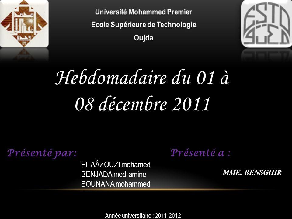 Université Mohammed Premier Ecole Supérieure de Technologie