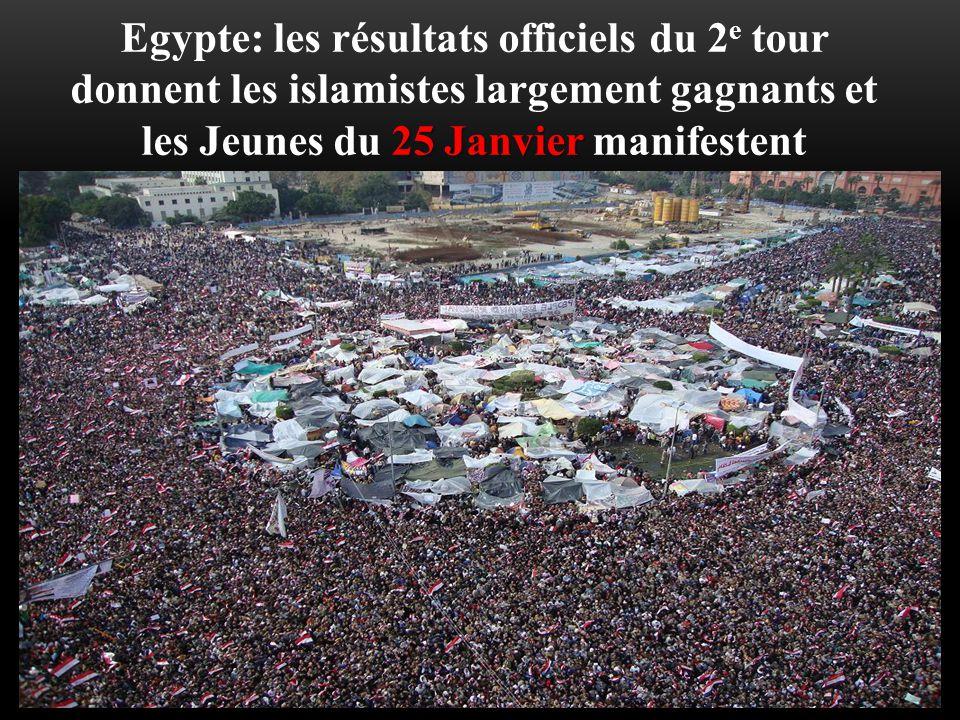 Egypte: les résultats officiels du 2e tour donnent les islamistes largement gagnants et les Jeunes du 25 Janvier manifestent