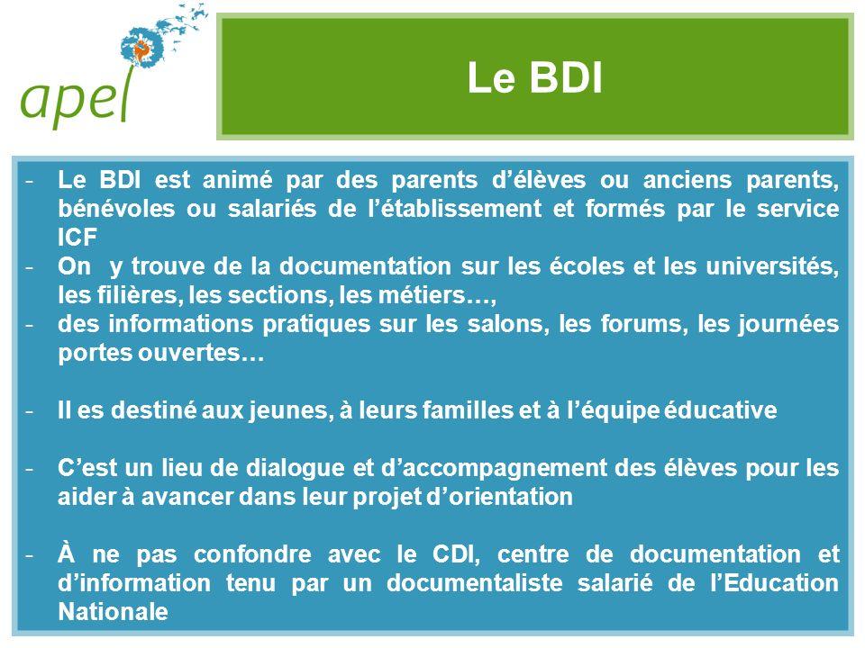 Le BDI Le BDI est animé par des parents d'élèves ou anciens parents, bénévoles ou salariés de l'établissement et formés par le service ICF.
