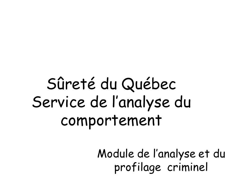 Sûreté du Québec Service de l'analyse du comportement