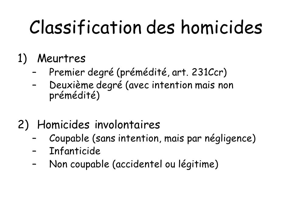 Classification des homicides