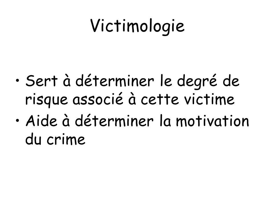 Victimologie Sert à déterminer le degré de risque associé à cette victime.