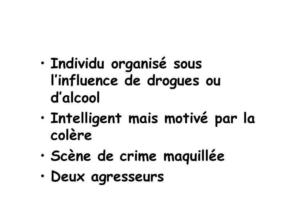 Individu organisé sous l'influence de drogues ou d'alcool