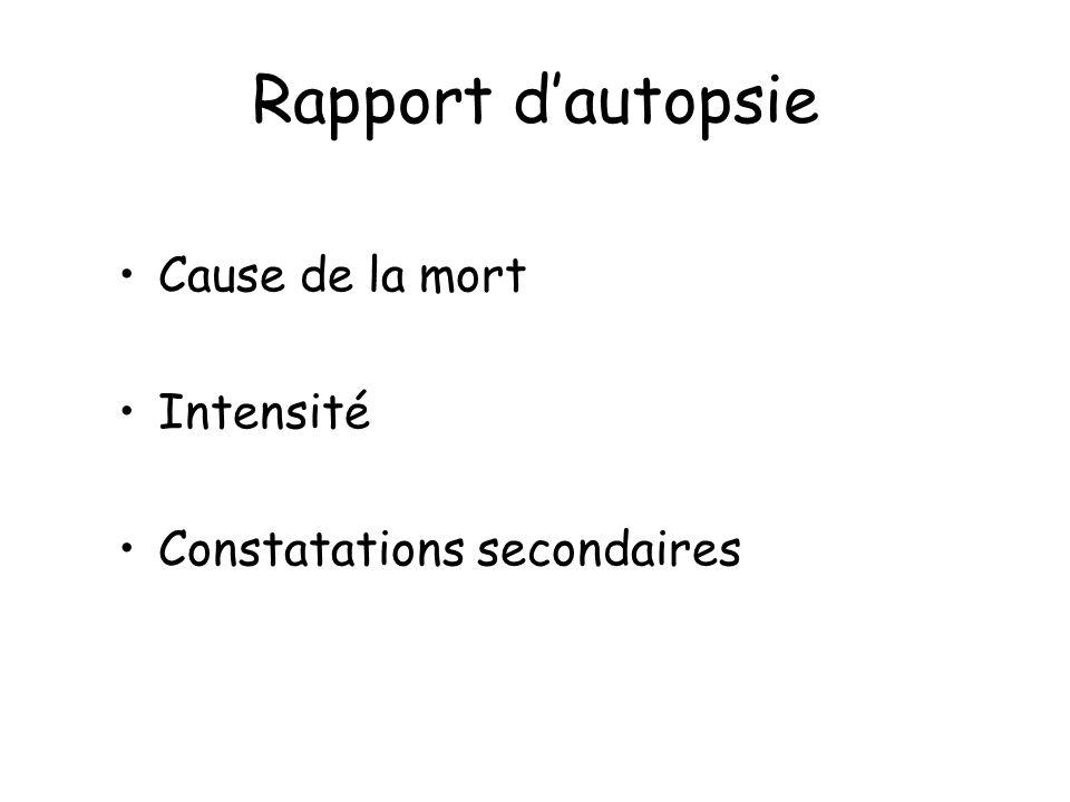 Rapport d'autopsie Cause de la mort Intensité