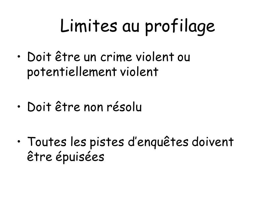 Limites au profilage Doit être un crime violent ou potentiellement violent. Doit être non résolu.